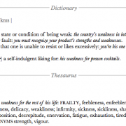 dictionary page - weakness